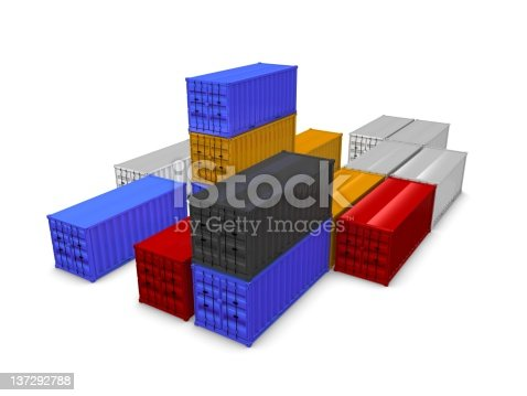 3d render of cargo containers, isolated over white background