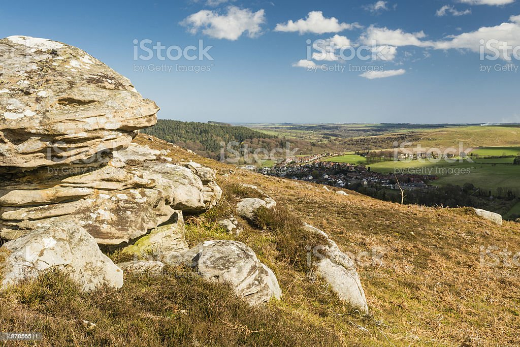 Crags over Rothbury stock photo