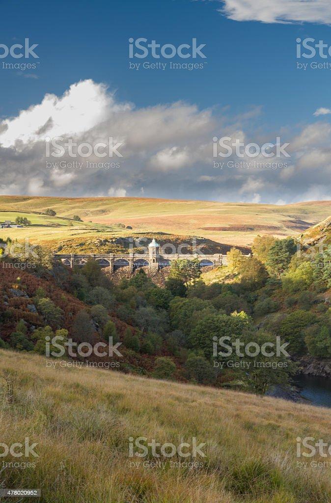 Craig Goch Dam and reservoir from distance, evening light, fall stock photo