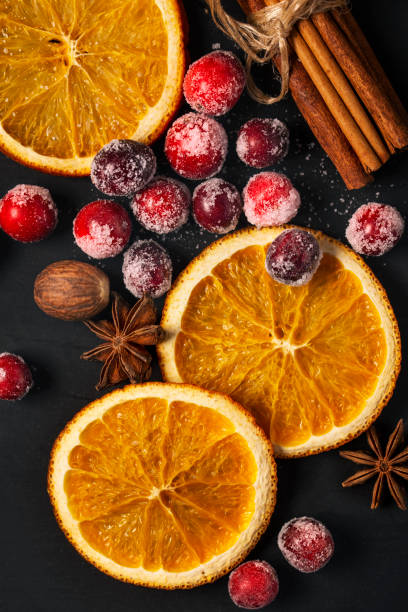 Cranberries, Dried Oranges, and Spice for the Holidays stock photo