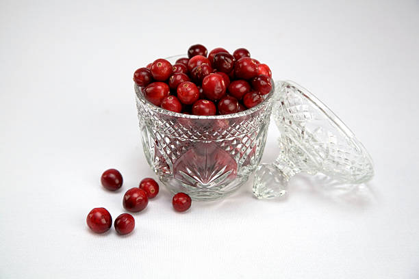 cranberries in a crystal bowl stock photo