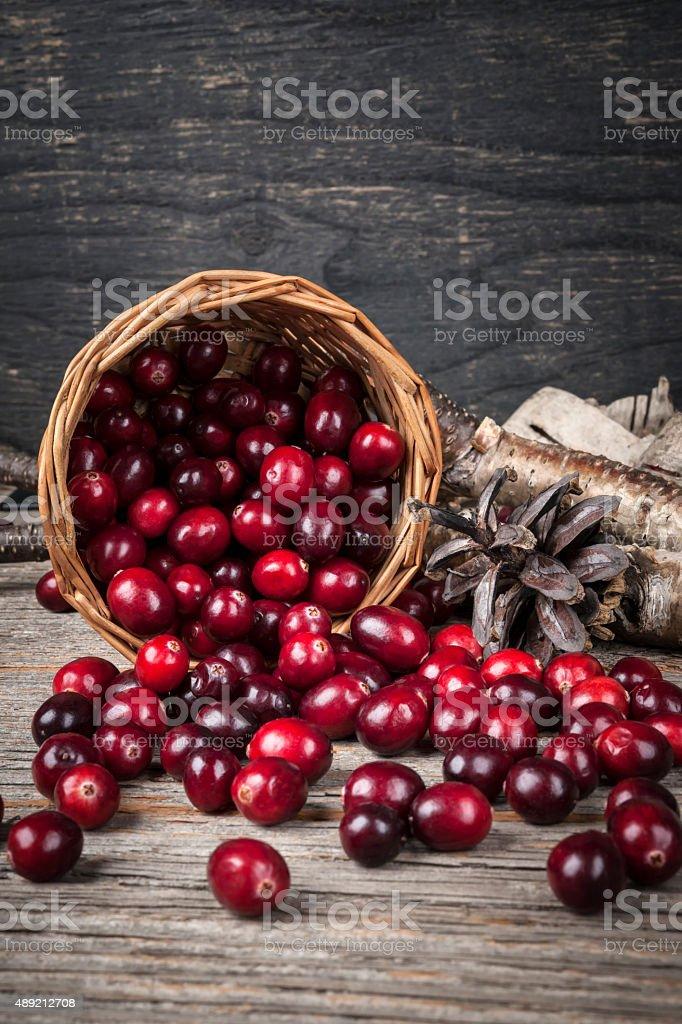 Cranberries in basket stock photo