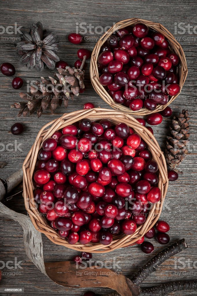 Cranberries in baskets stock photo
