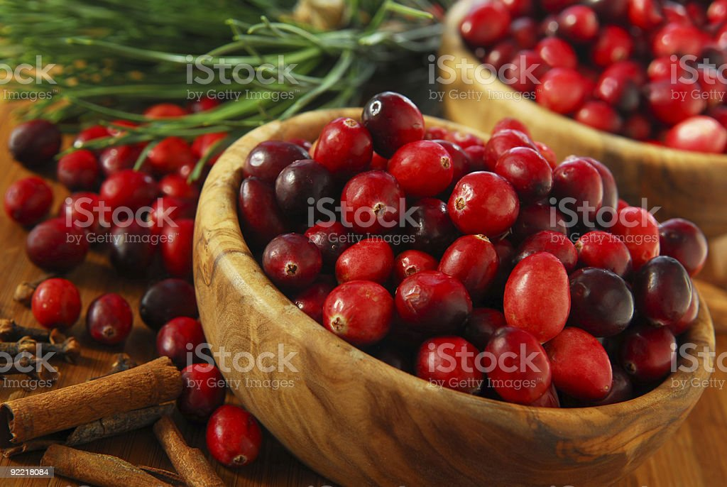 Cranberries in bowls royalty-free stock photo