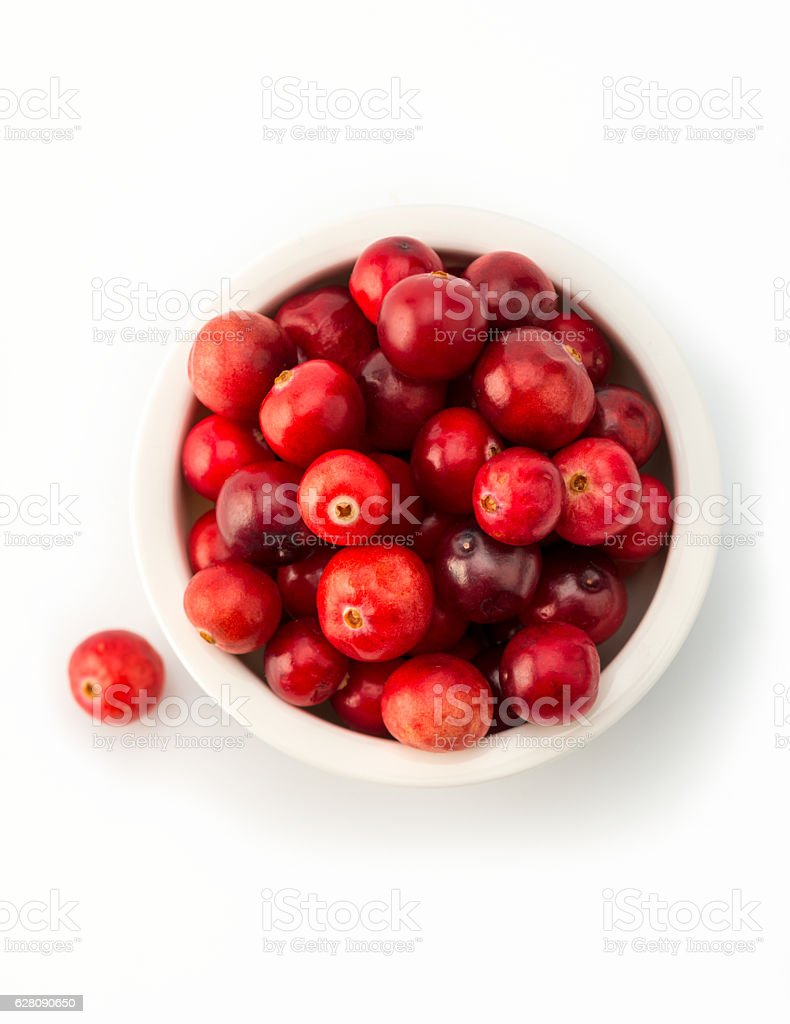 cranberries in white bowl, high angle view stock photo