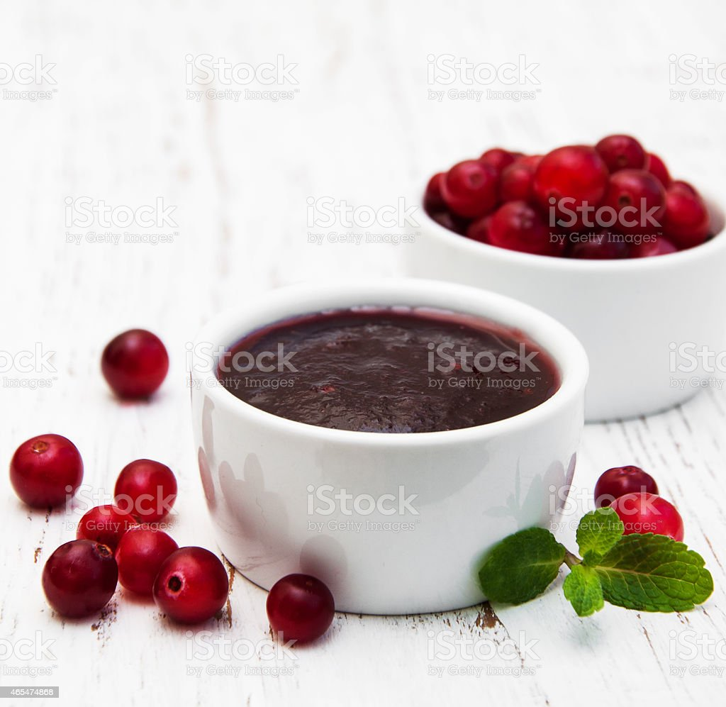Cranberries jam stock photo
