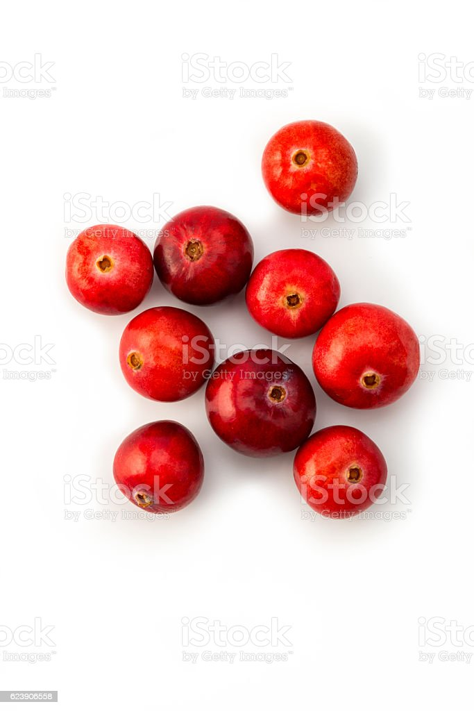 Cranberries on white stock photo