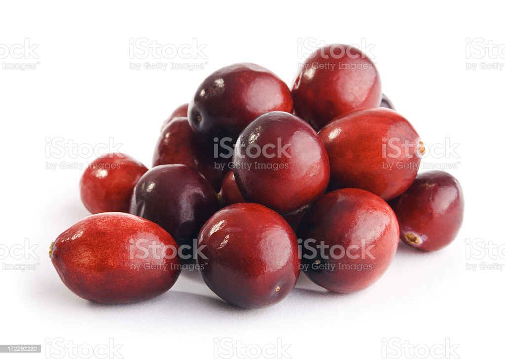 Cranberries Red Berry Fruit Pile Isolated on White Background royalty-free stock photo