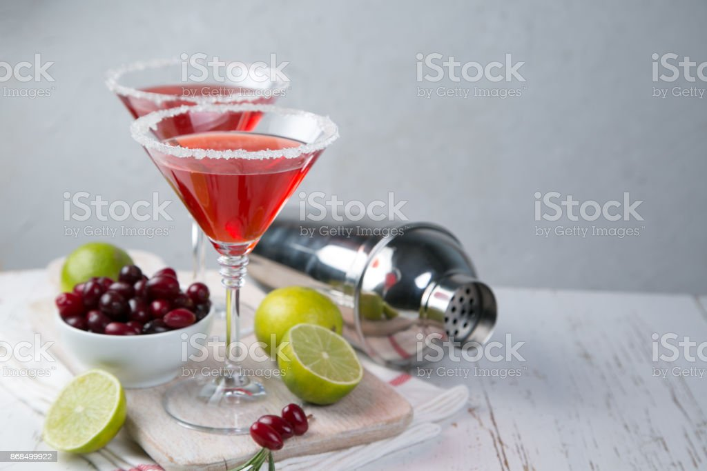 Cranberry and lime martini stock photo