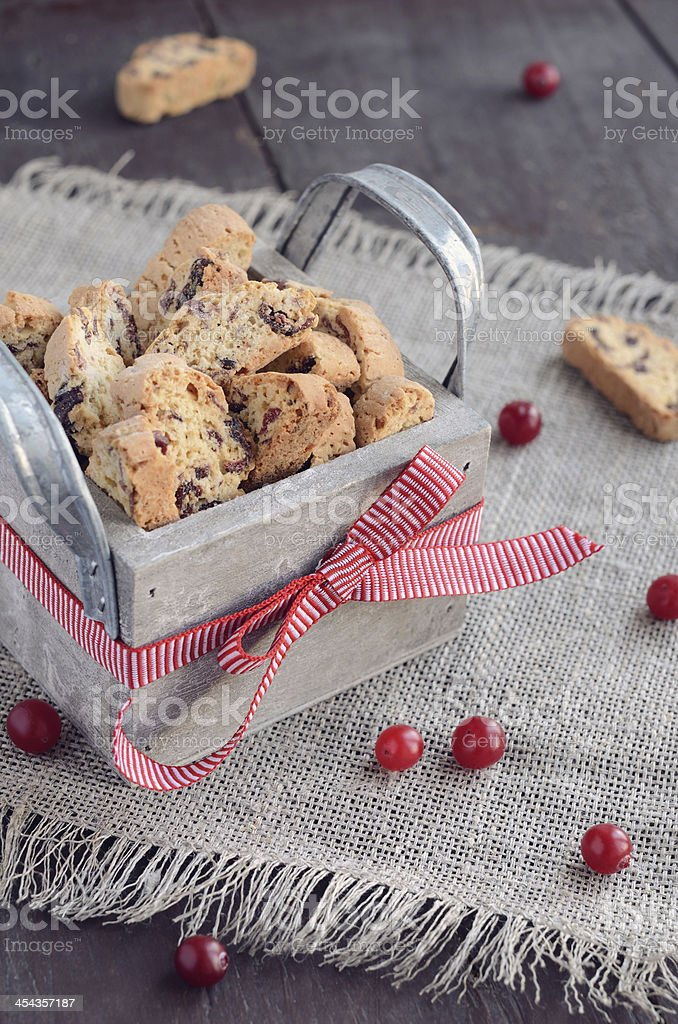 Cranberry biscotti in wooden box royalty-free stock photo