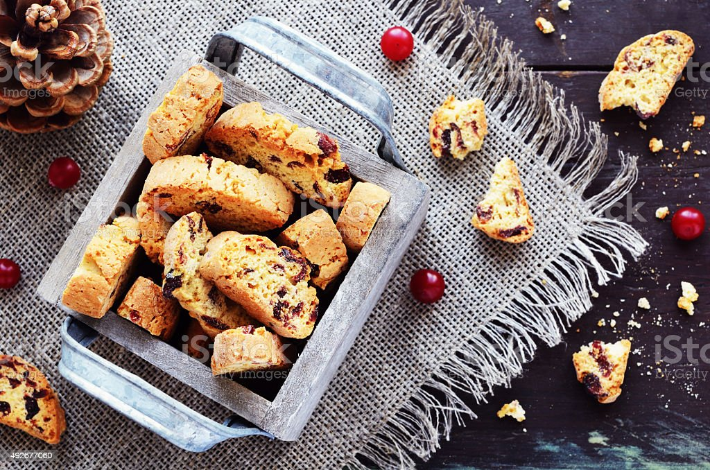 Cranberry biscotti in wooden box stock photo