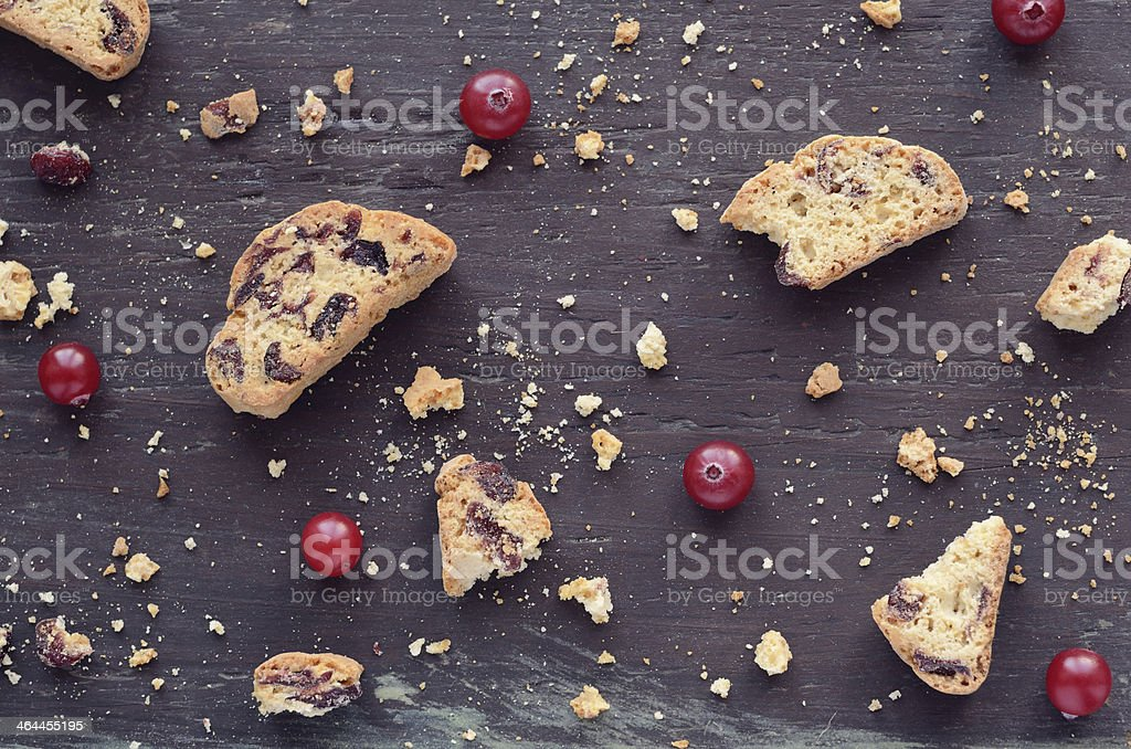 Cranberry biscotti on wooden background royalty-free stock photo