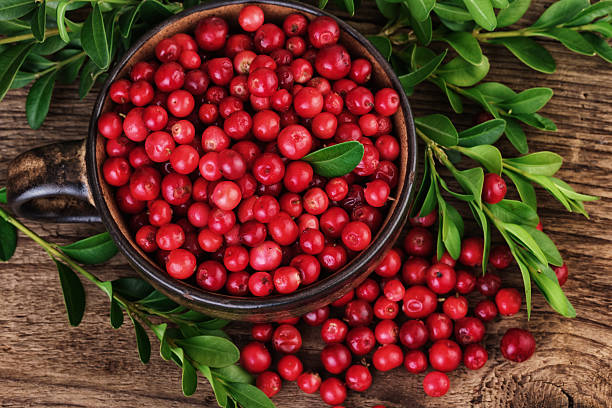 cranberry closeup top view. organic beries over wooden background. - cranberry stock photos and pictures