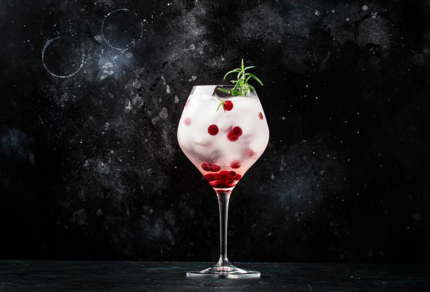 Cranberry cocktail with ice, rosemary and berries in big wine glass, bar tools, gray bar counter background, top view Cranberry cocktail with ice, rosemary and berries in big wine glass, bar tools, gray bar counter background, top view tonic water stock pictures, royalty-free photos & images