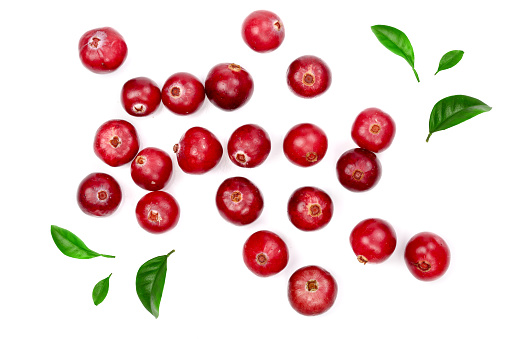 Cranberry decorated with green leaves isolated on white background closeup top view