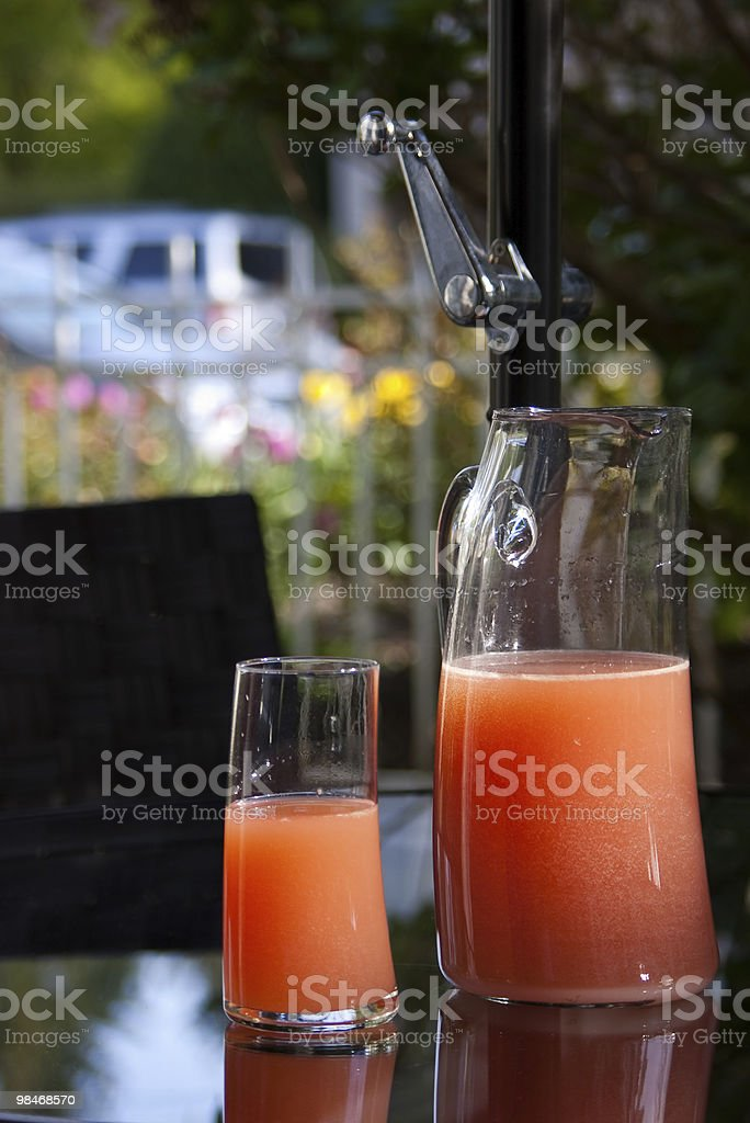 Cranberry Fizz Cocktail Drink in single glass and pitcher royalty-free stock photo
