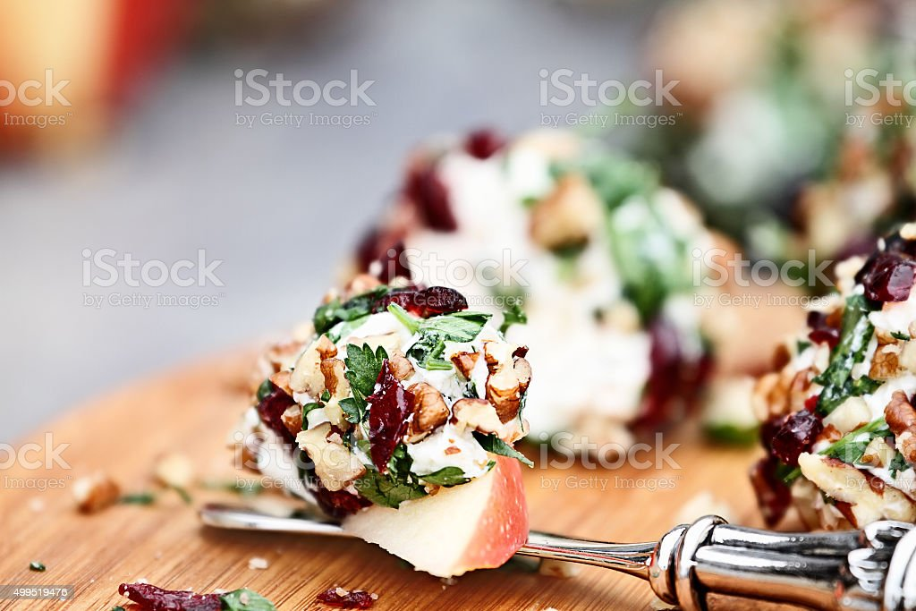 Cranberry Nut Cheese Ball and Apples stock photo