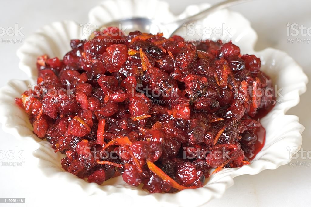 Cranberry sauce in a vintage white bowl. royalty-free stock photo