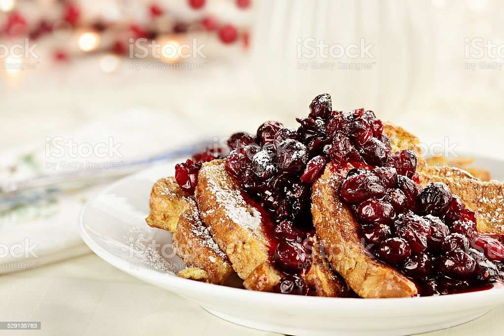 Cranberry Sauce over French Toast stock photo