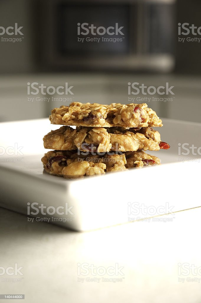 Cranberry White Chocolate Pecan Oatmeal Cookies royalty-free stock photo