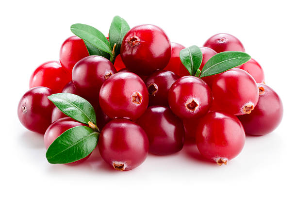 cranberry with leaves isolated on white. - cranberry stock photos and pictures