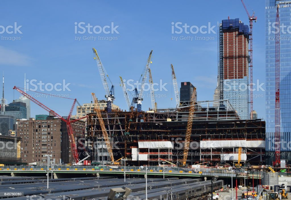 Crane and building construction site stock photo