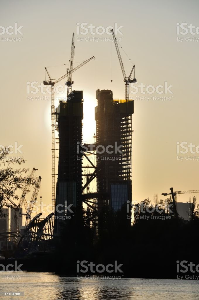 crane and building (European Central Bank) royalty-free stock photo