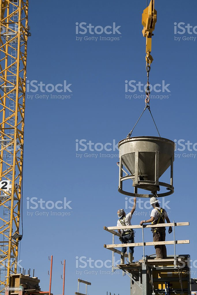 Crane and Construction Workers royalty-free stock photo