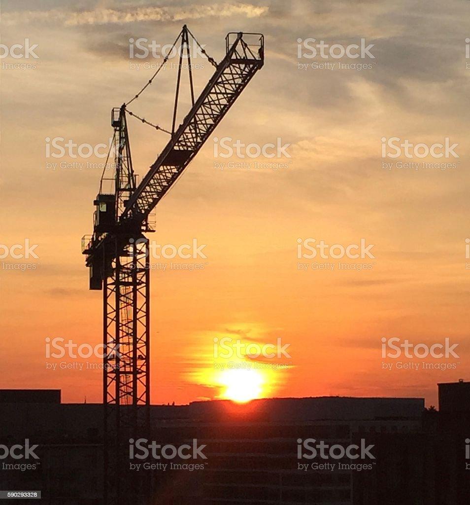 crane and sunset royaltyfri bildbanksbilder