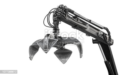 Crane Arm With Open Claw. Industrial grabber. Isolated on white