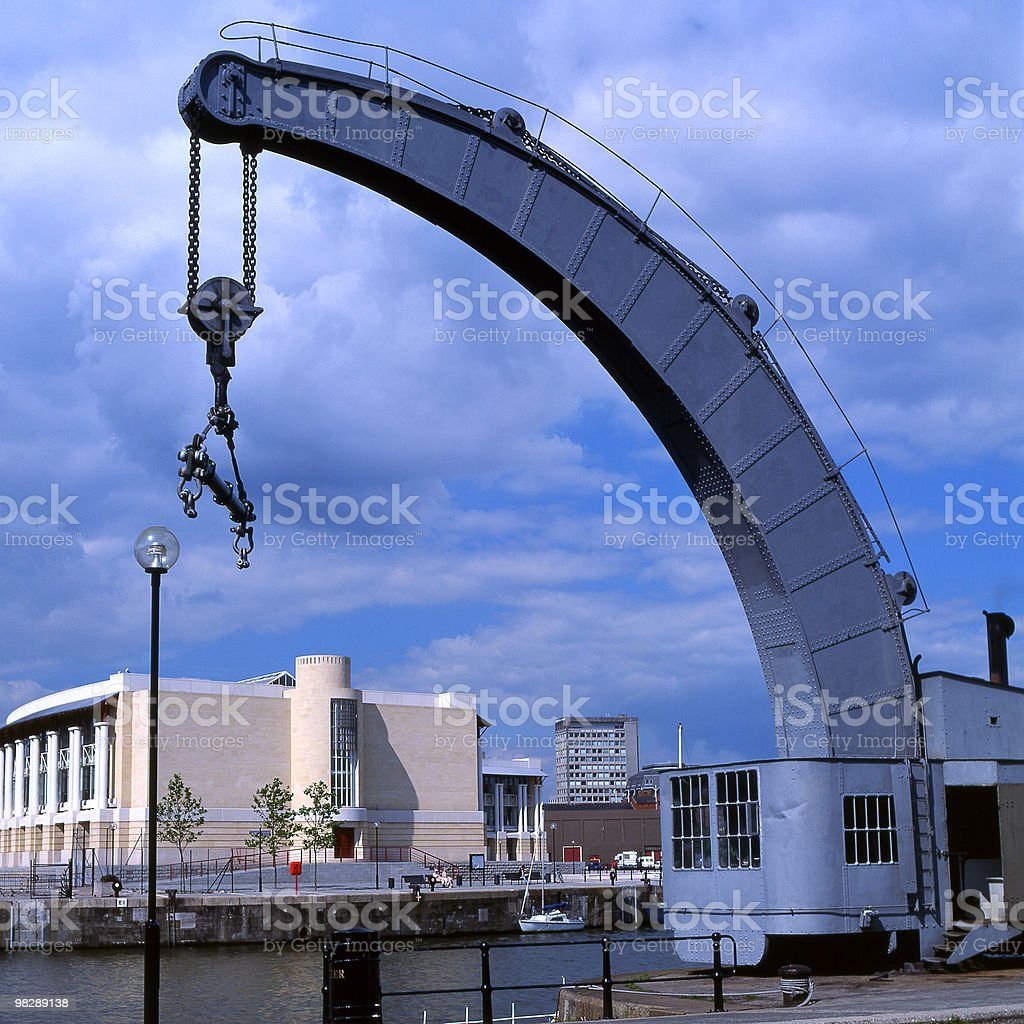 Crane at Historic Harbour, Bristol, England royalty-free stock photo
