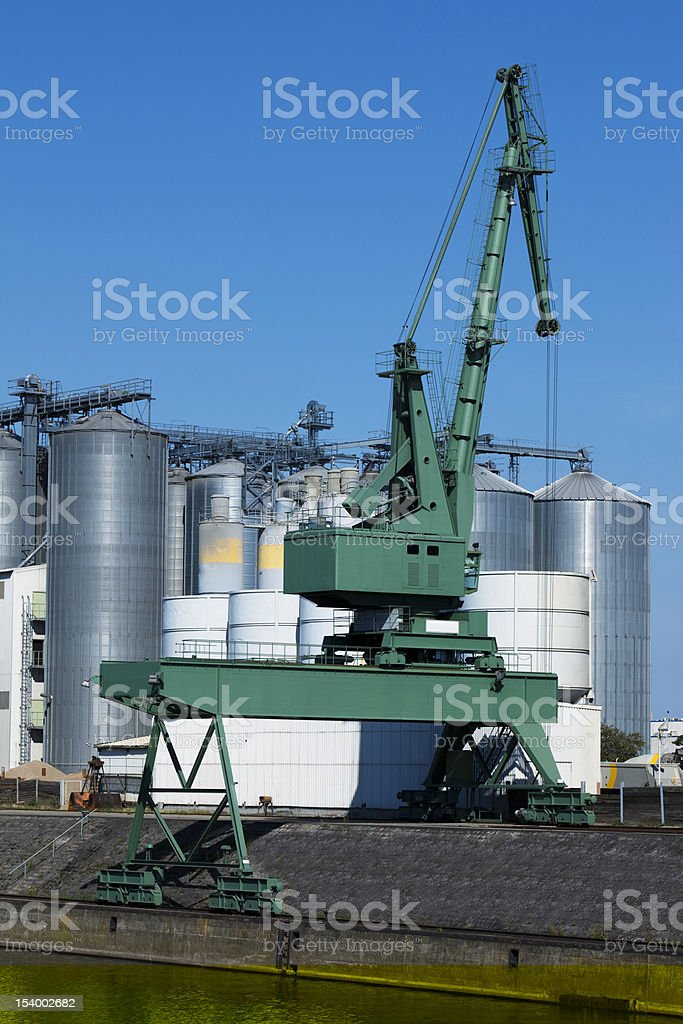 Crane at Industrial Port royalty-free stock photo