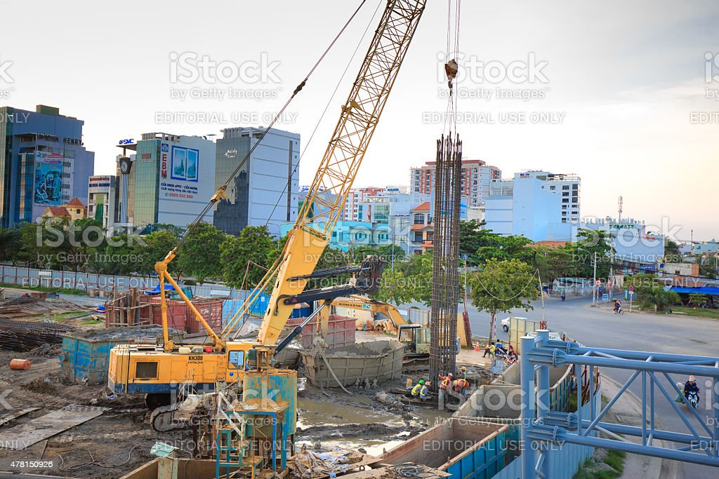 crane at the construction site for the pier of subway stock photo