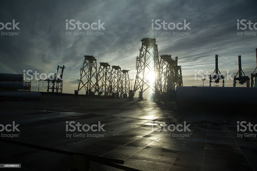 Crane at the harbour, Bremerhaven, Germany, November 2013 stock photo
