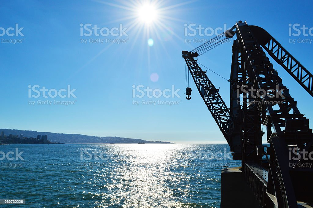 Crane at the Vargara dock in Viña del Mar Chile stock photo