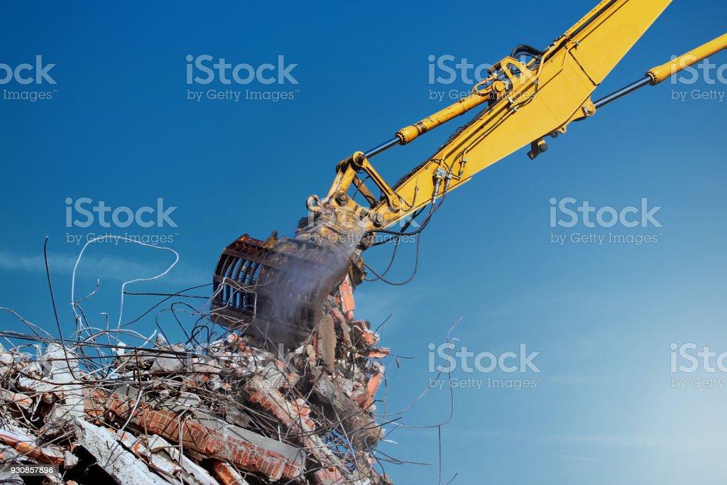 crane building demolition stock photo