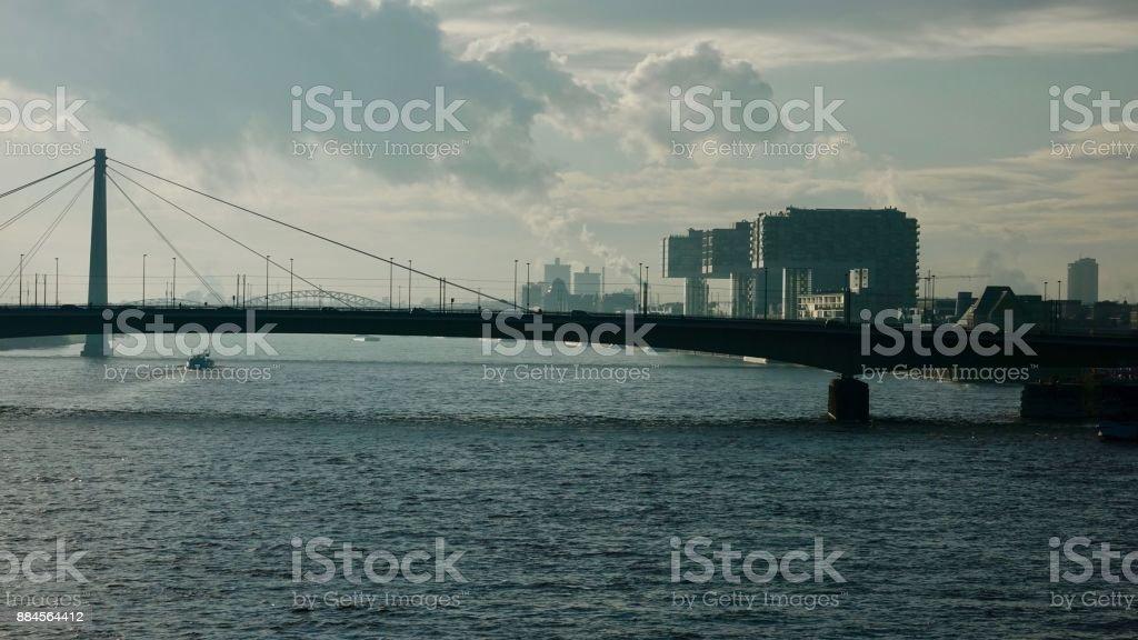 Crane buildings at Rhine River stock photo