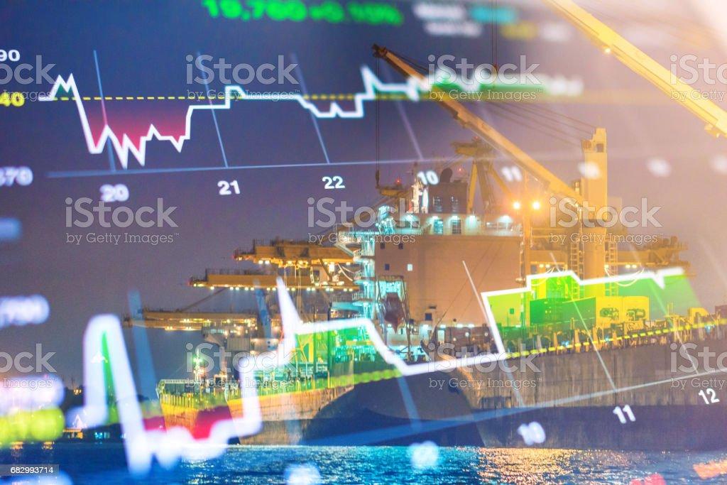 Crane cargo market and finance economic background royalty-free stock photo