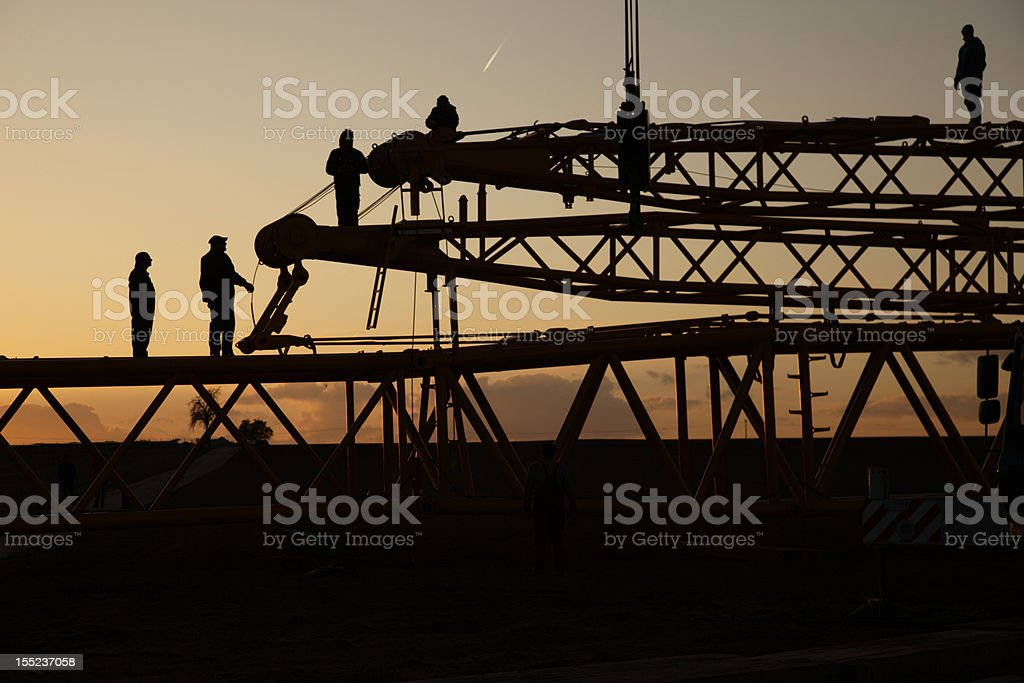 crane construction silhouette royalty-free stock photo