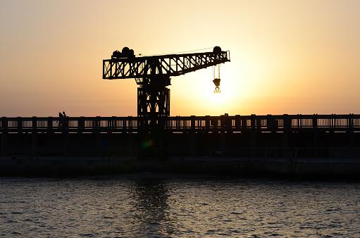 Crane Harbor Sunset Tel Aviv Bridge Reconstructed Old Crane Sea Port Vintage