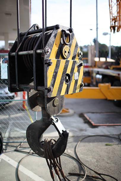 Crane Hook Block at the Job Site stock photo