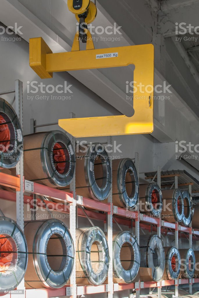 Crane hook for sheet metal coils stock photo