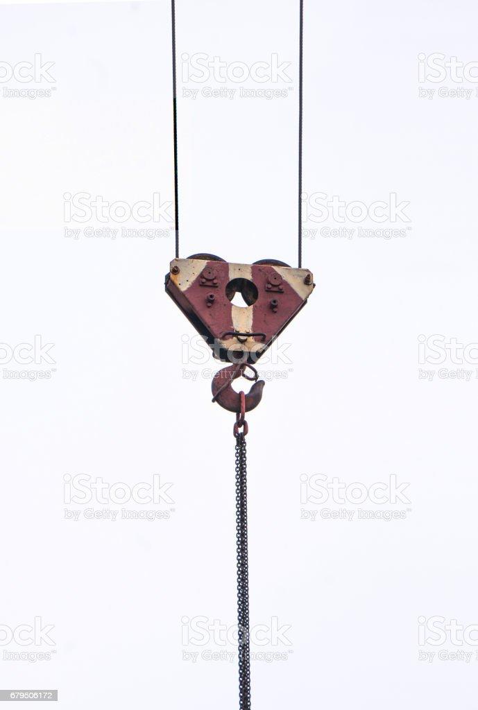 Crane hook isolated on a white background stock photo