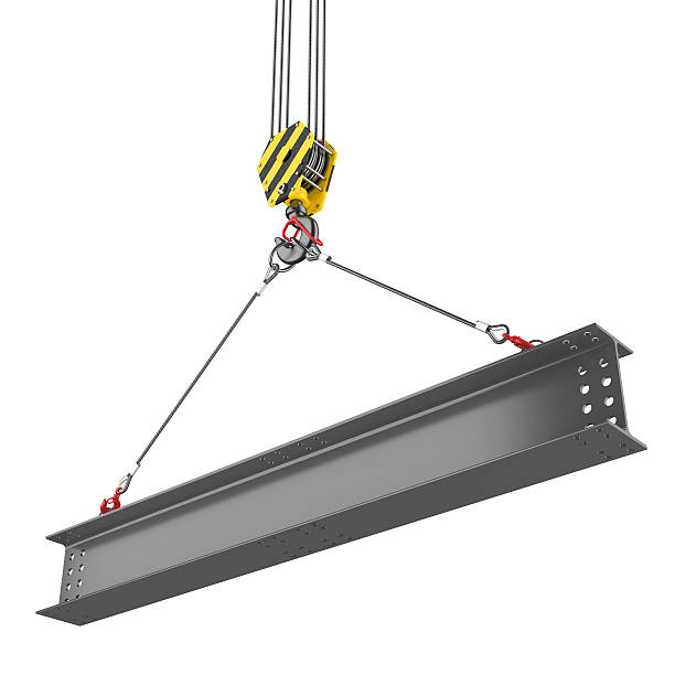 Crane hook lifting of steel beam Crane hook lifting of steel beam. Isolated on white background girder stock pictures, royalty-free photos & images