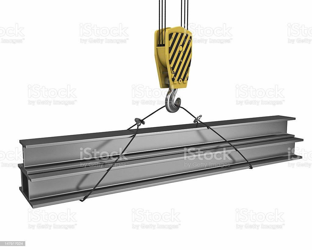 Crane hook lifts up few H girders stock photo