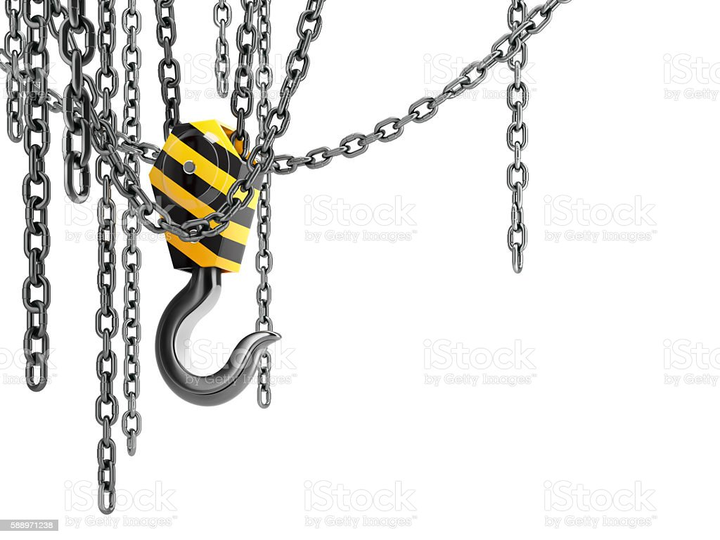 Crane hook with chains, isolated on white background. stock photo