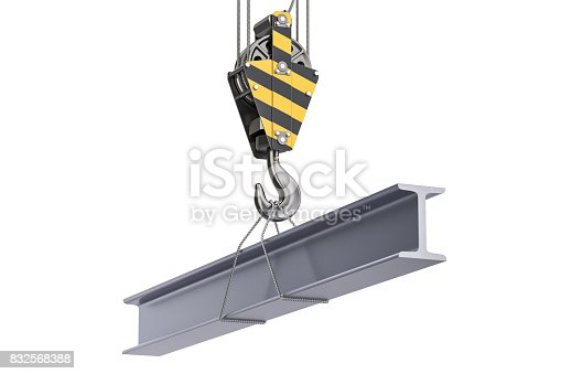 Crane hook with channel, H-beam. 3D rendering isolated on white background