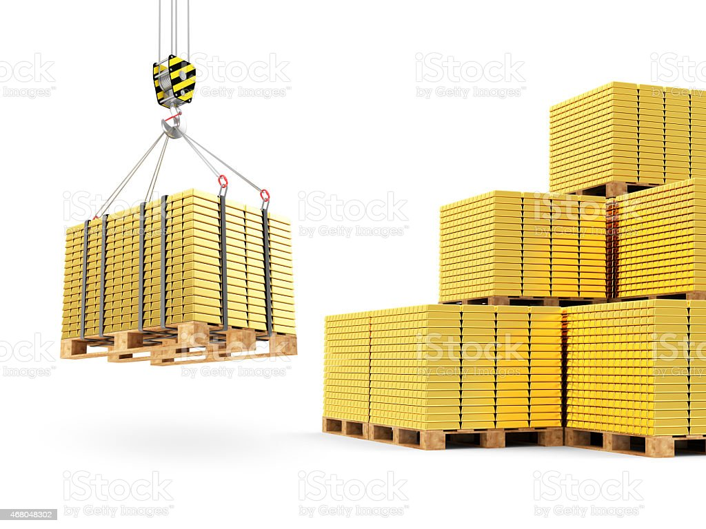 Crane Hook with Stacked Golden Bars on a Wooden Pallet stock photo