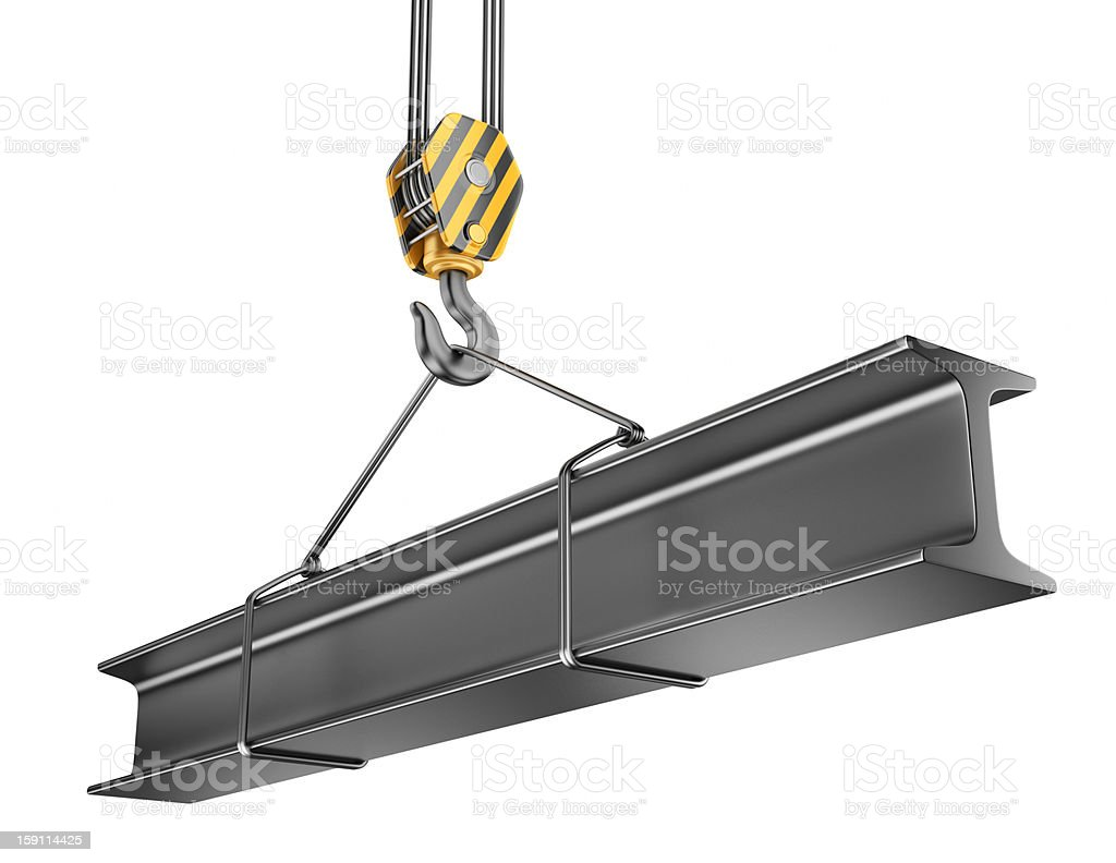 Crane hook  with steel girder 3D. Isolated stock photo