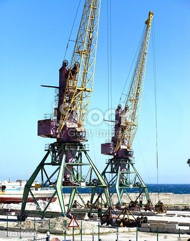 Crane in the cargo port of Yalta...
